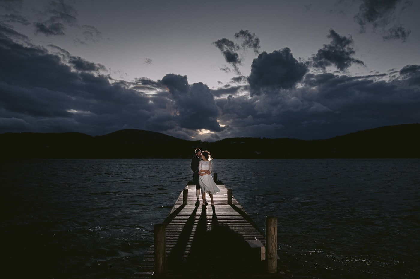 Portrait of Bride and Groom on Peer