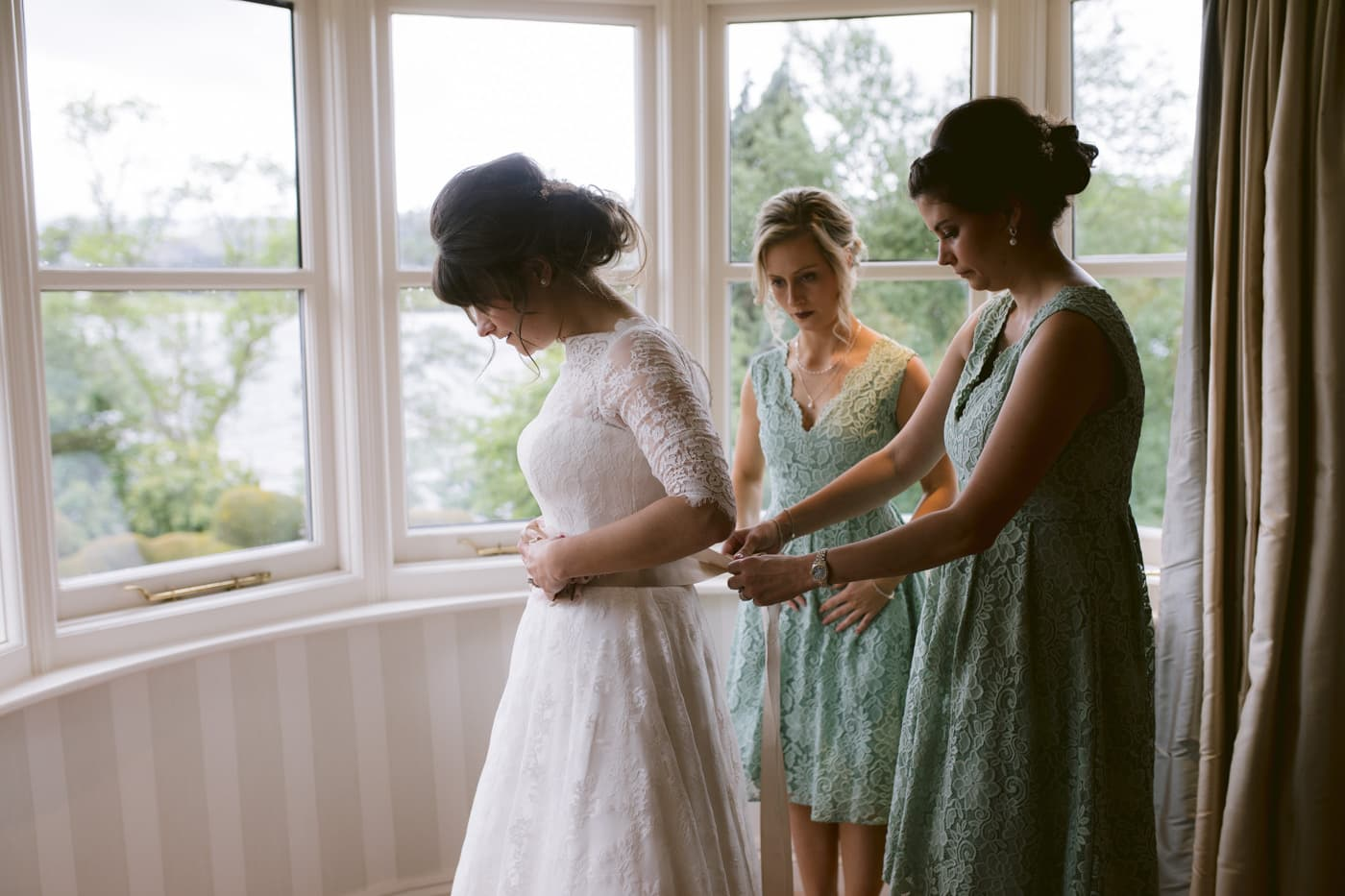 Wedding Dress with Bridesmaids Portrait