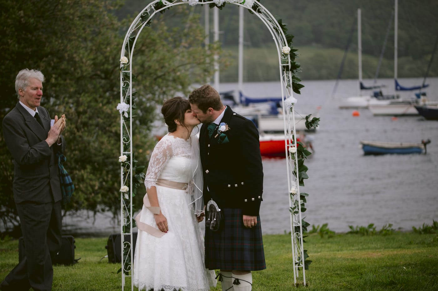 Wedding Ceremony Kiss and Married at Tipi Wedding On The Shores Of Ullswater