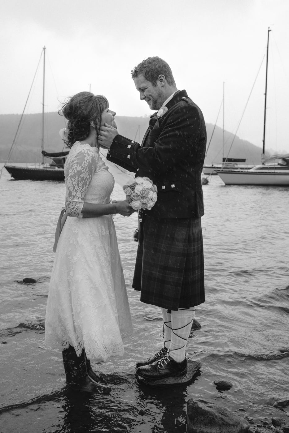 By the Lakeside, Bride and Groom Portrait