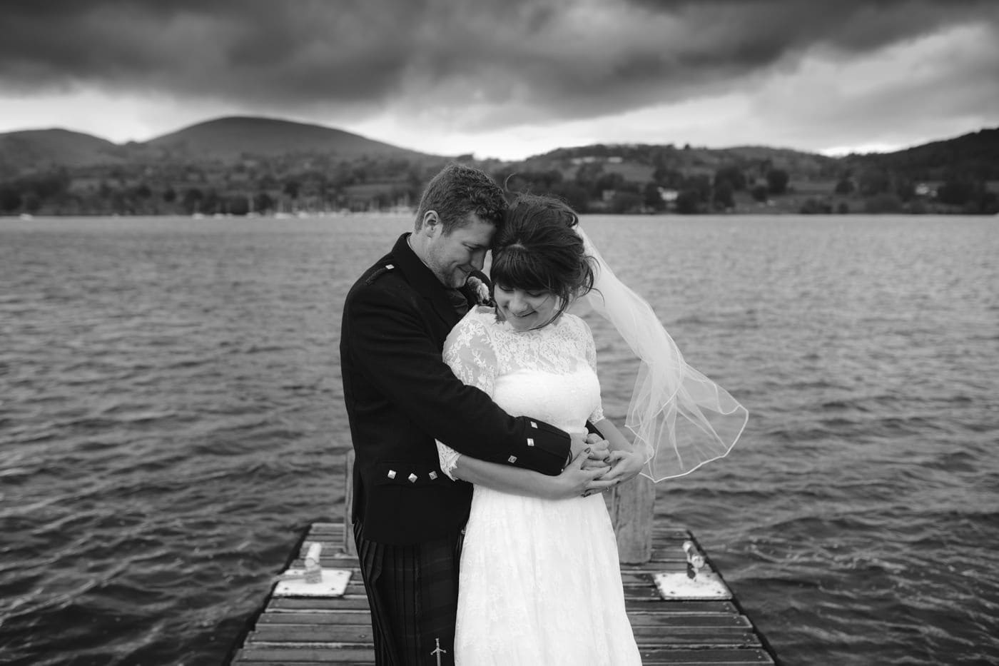 Bride and Groom by the waters edge