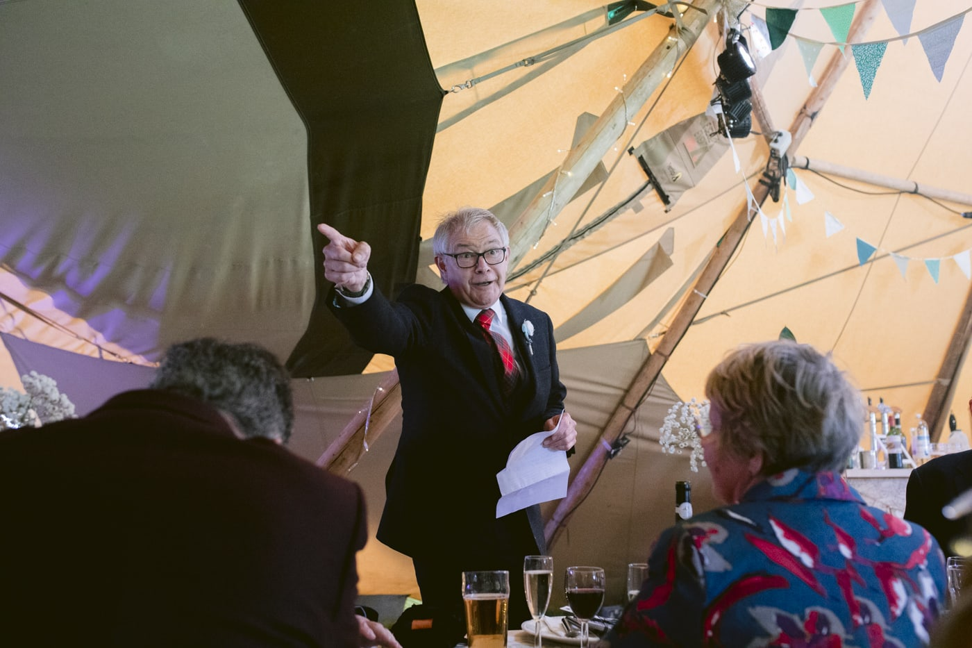 Speech in Tipi Tent with Guests at Tipi Wedding On The Shores Of Ullswater