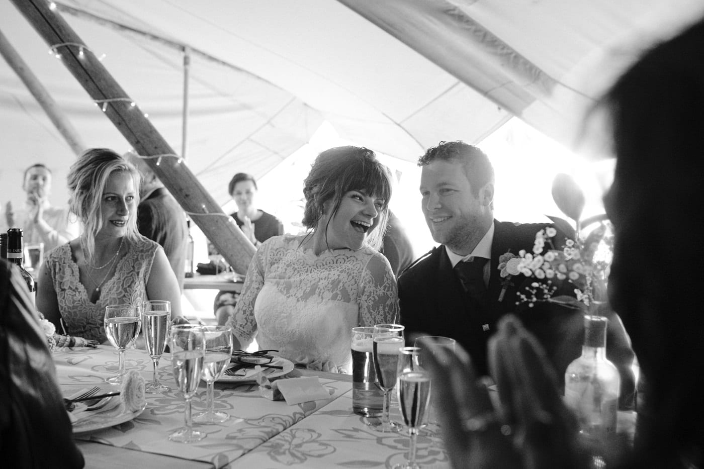 Bride and Groom in Tipi Tent Together, Happy and Smiling Couple Portrrait