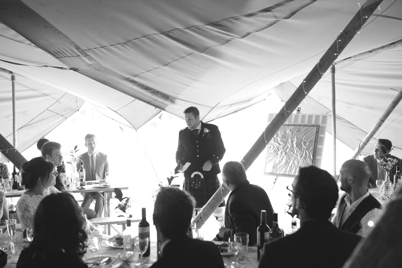Guests Speeches Under Tipi Tent Wedding Venue