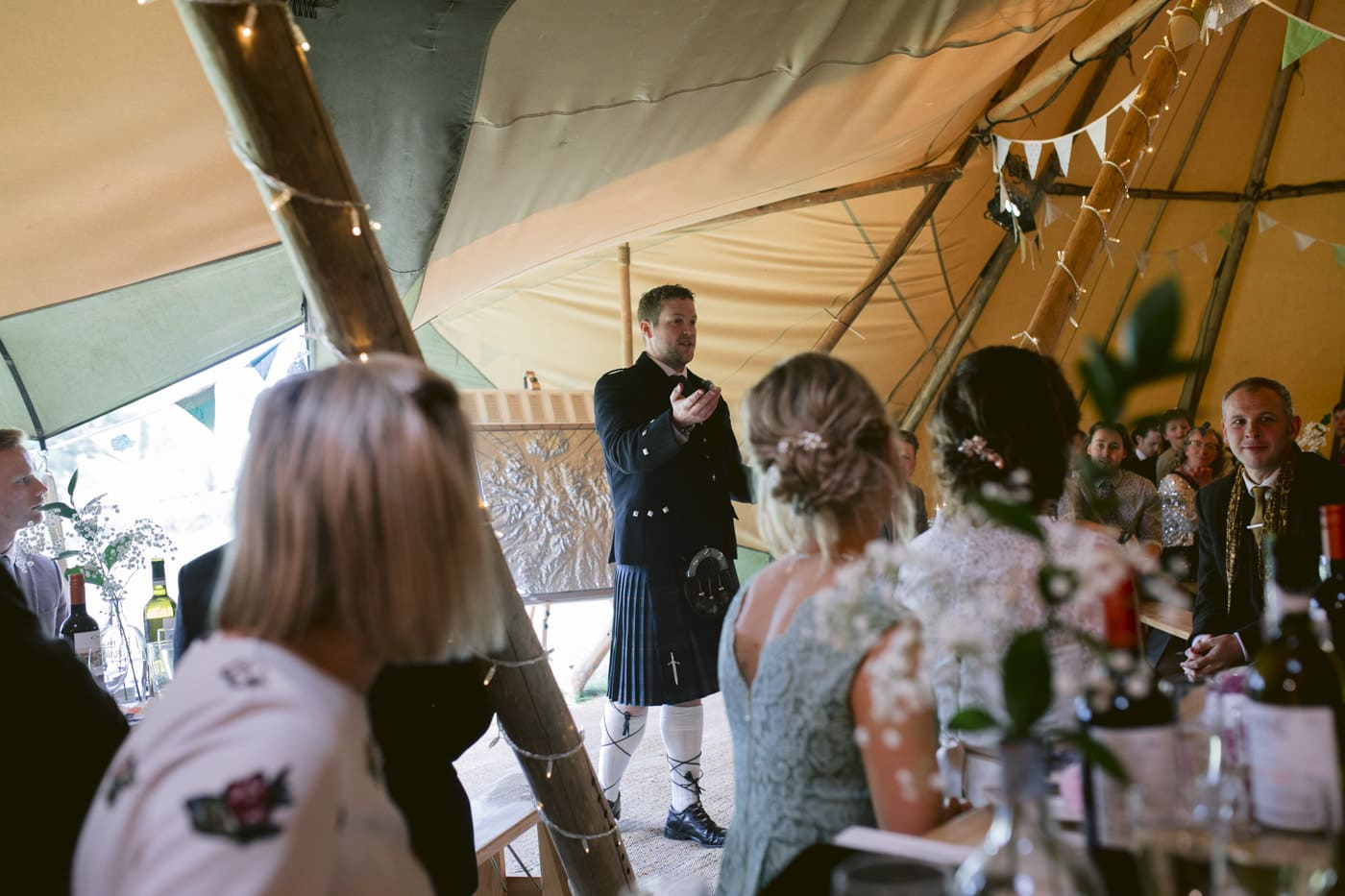 Guests at Tipi Wedding On The Shores Of Ullswater