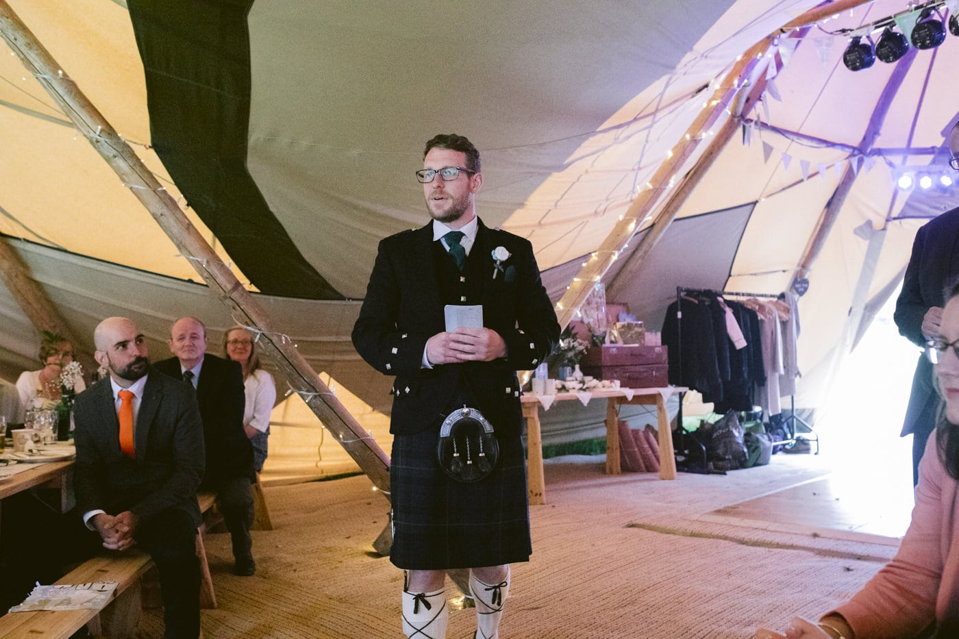 Tipi Tent Speech at Tipi Wedding On The Shores Of Ullswater