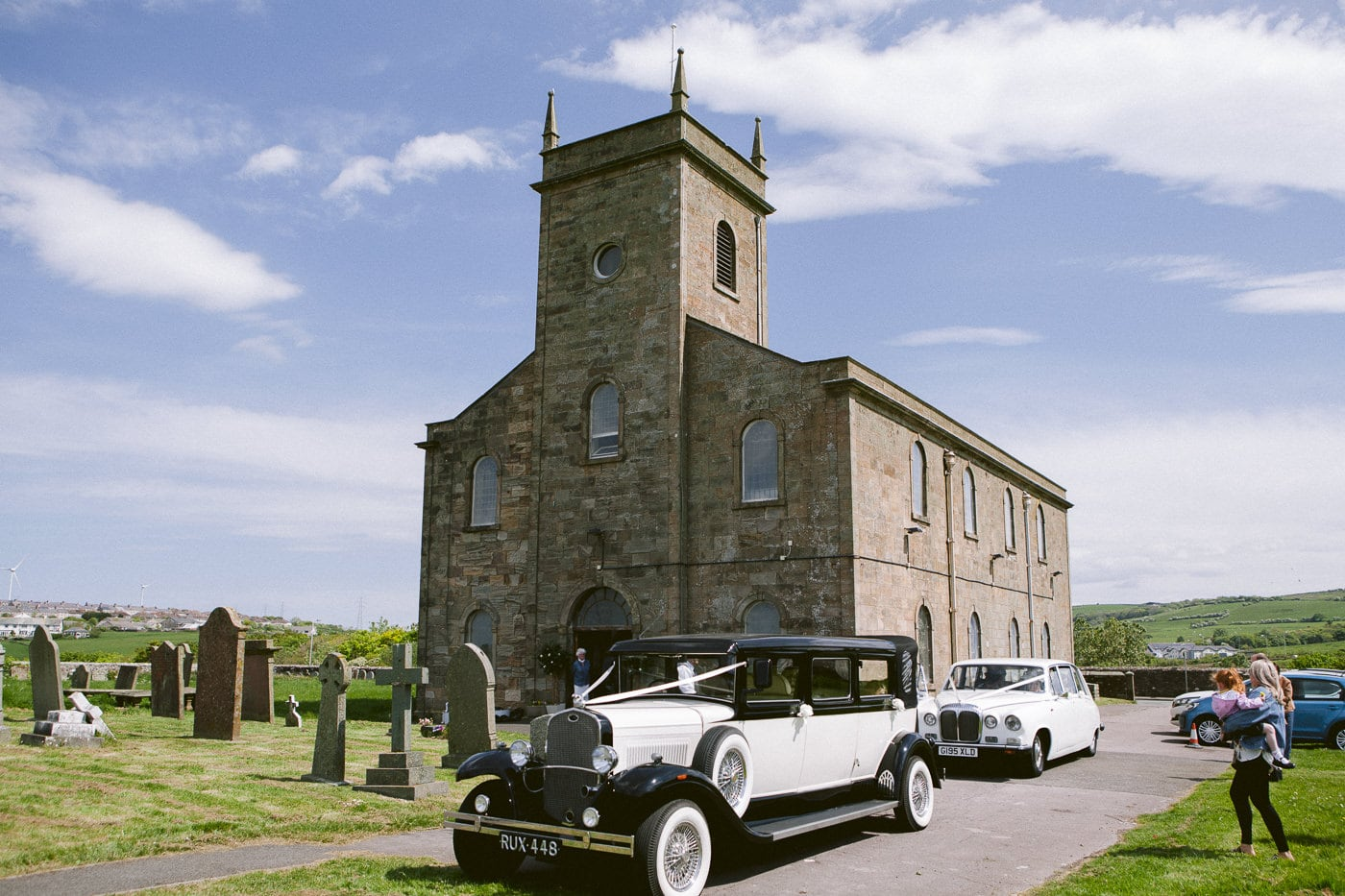 Wedding Cars outside Irton Hall Cumbria on The Big Day in Sunshine Photograph