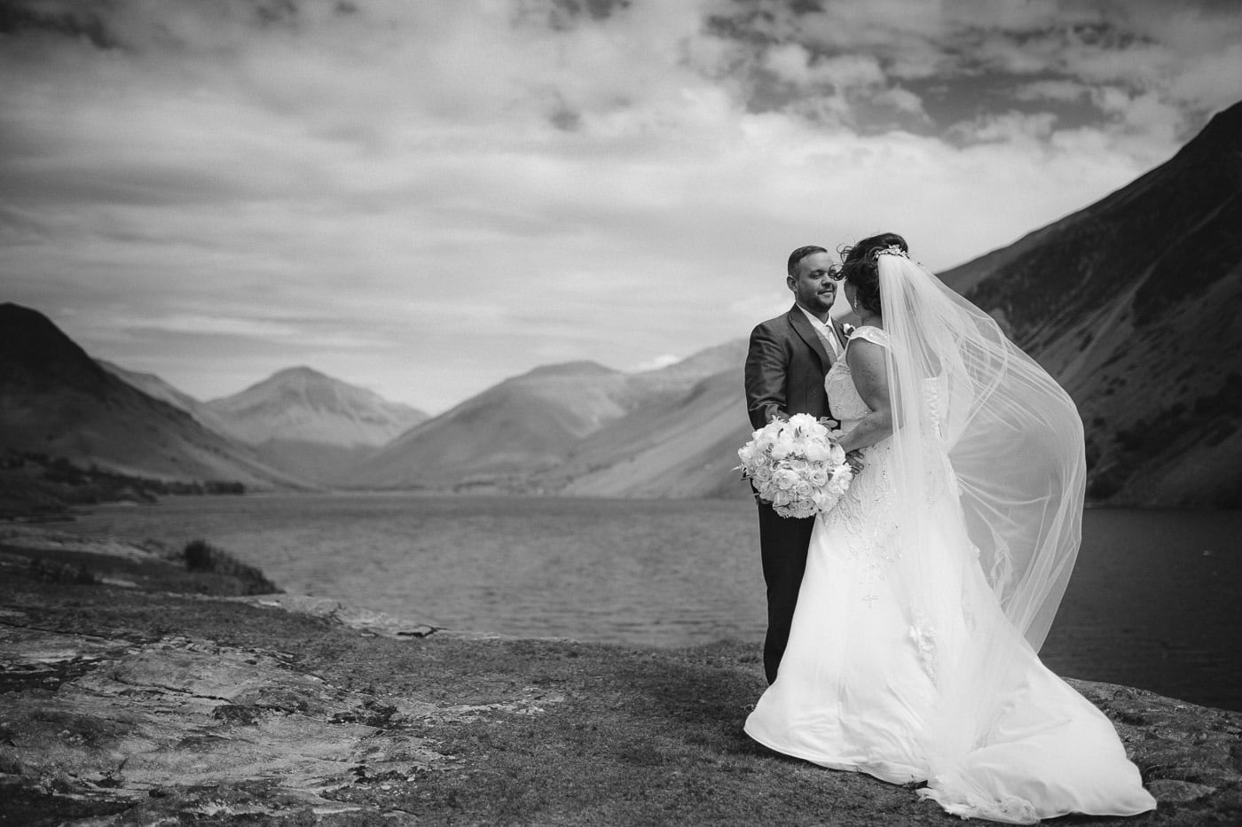Bride and Groom at wastwater in a wedding portrait