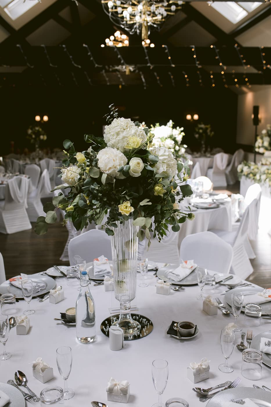 Bunch of Flowers on Decorative Tables For Evening Reception Photography