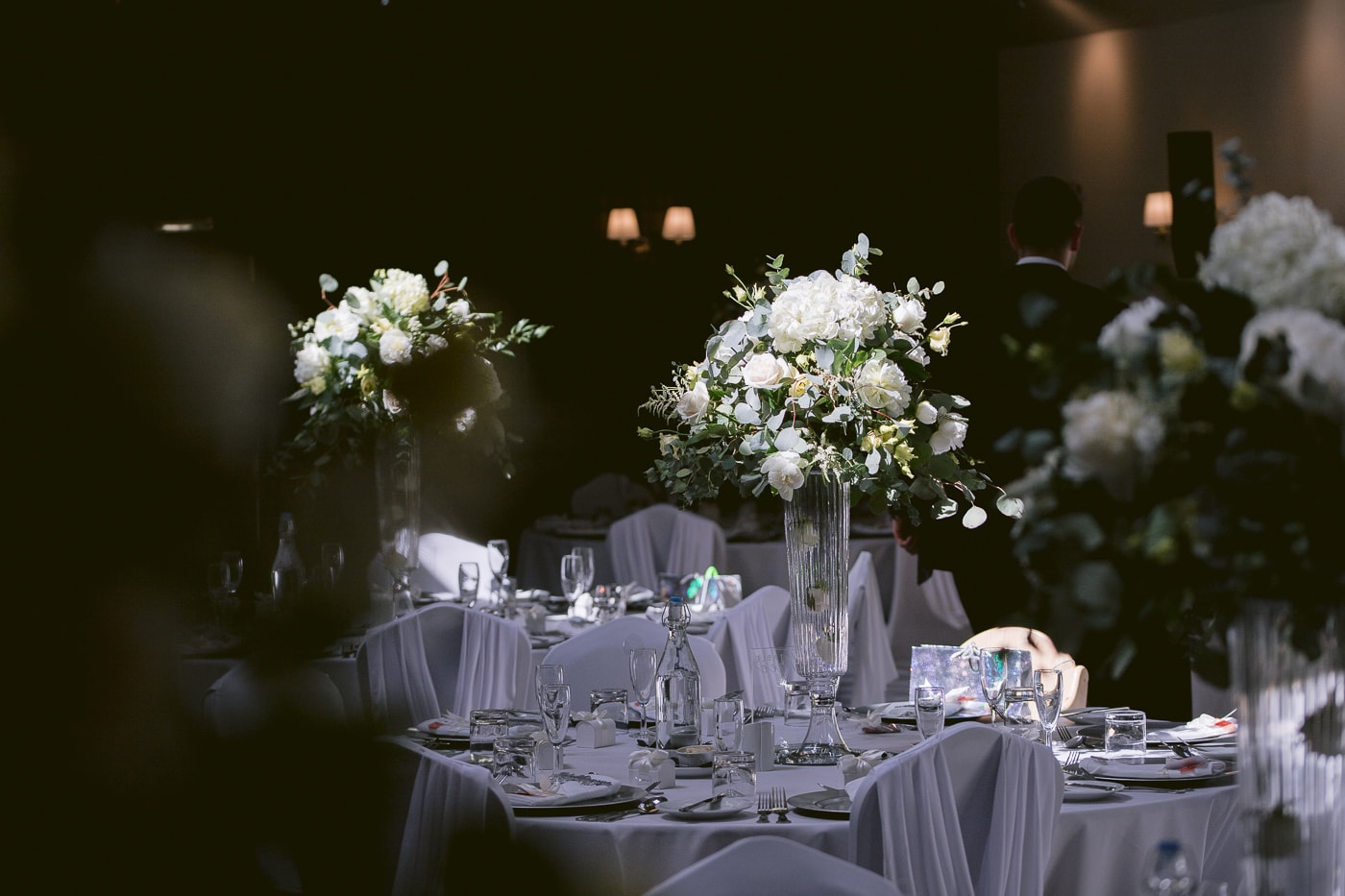 Decorative Flowers on Evening Reception Table Waiting For Guests