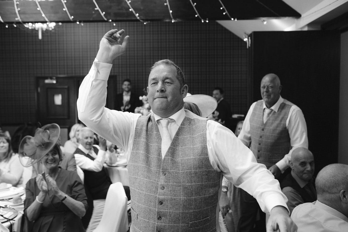 Man in Suit at Wedding Reception at Irton Hall Cumbria
