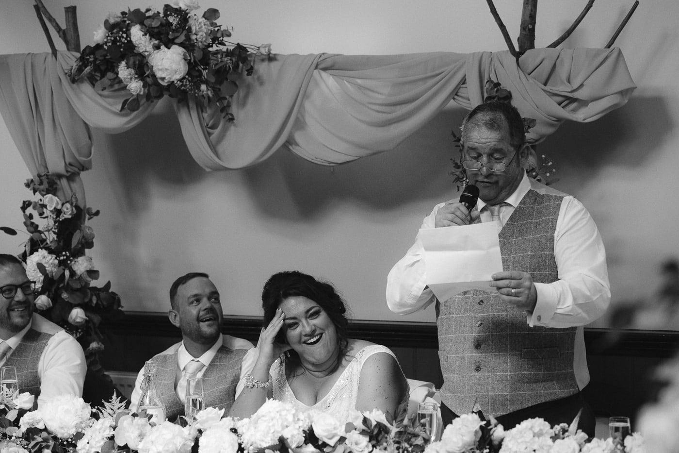 Bride and Groom at Reception and Family Giving Speech Photography Session