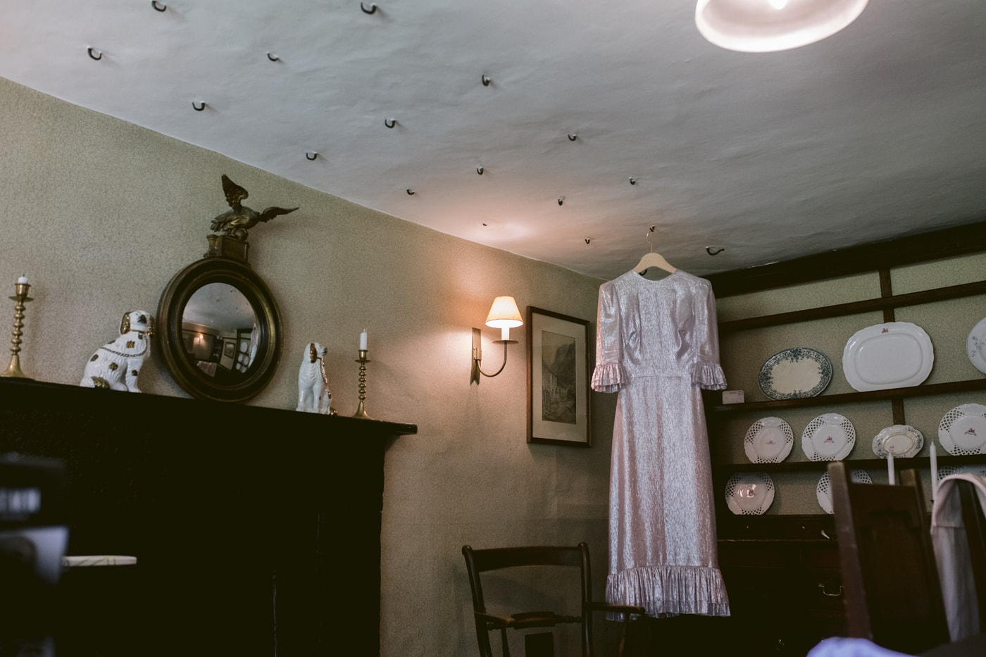 Decorative Room with Dress at Yew Tree Farm Wedding