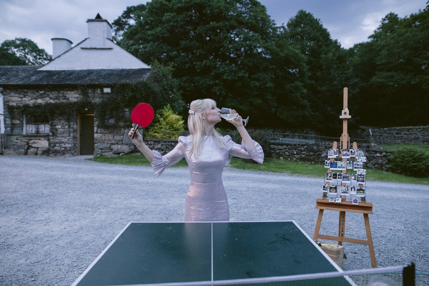 Bride Evening Playing Table Tennis with Wine Portrait Session