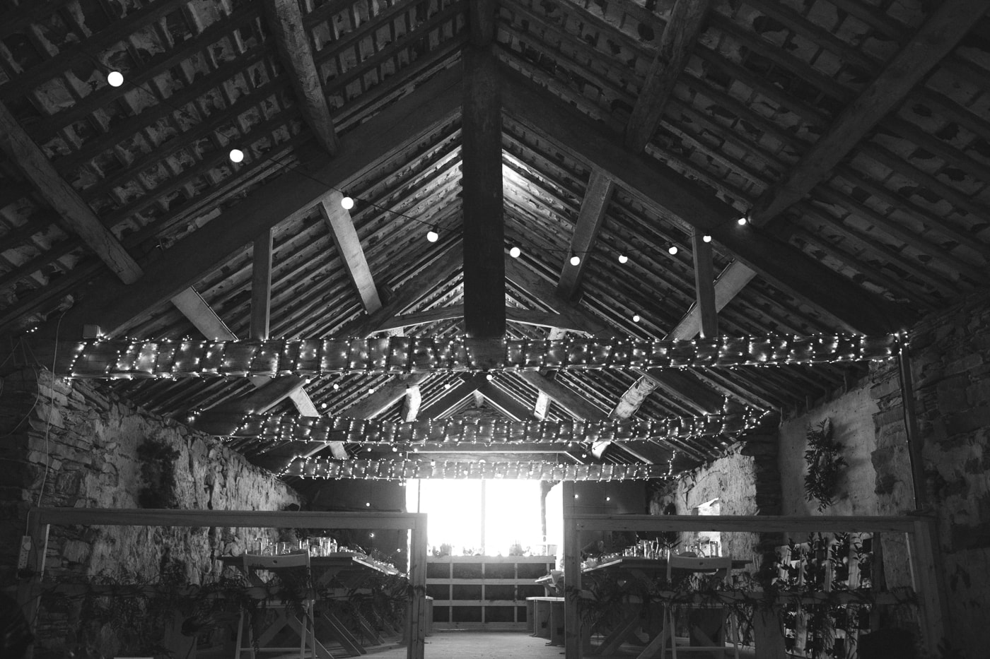 Decorative Barn with Lights at Yew Tree Farm Wedding