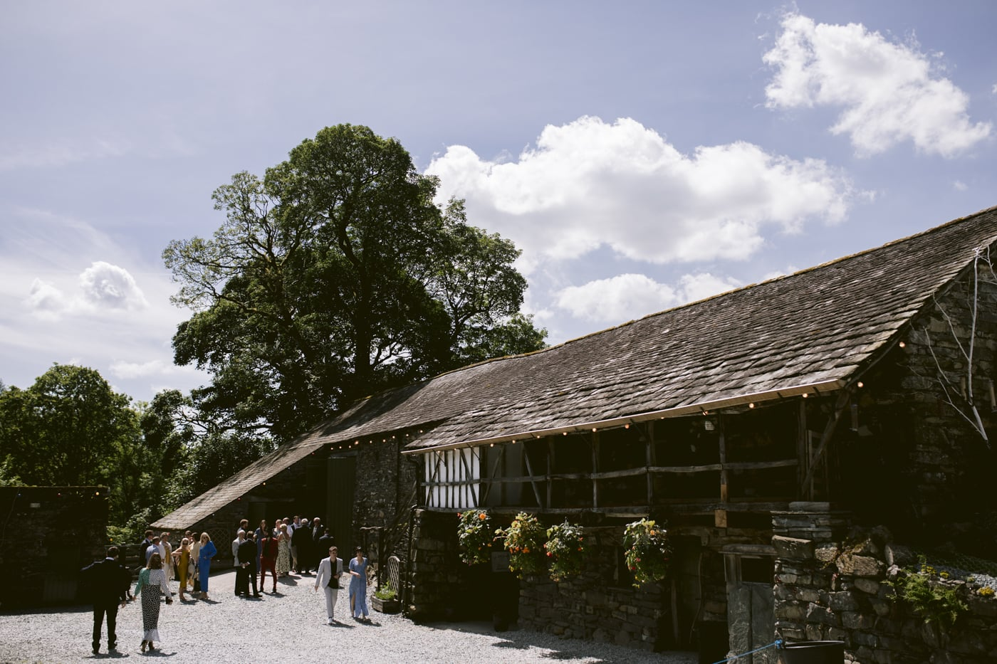Guests outside at Yew Tree Farm Wedding