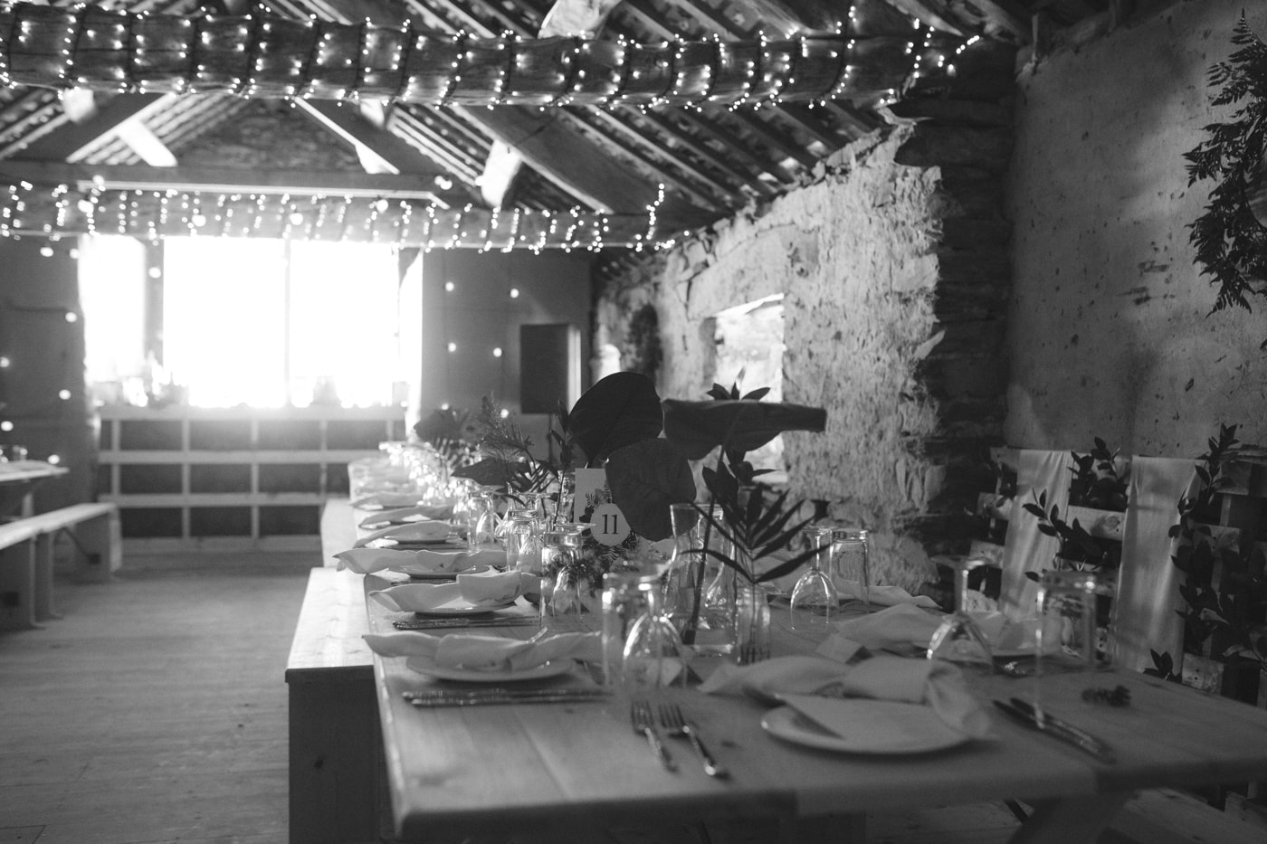 Reception Tables Decorated at Yew Tree Farm Wedding