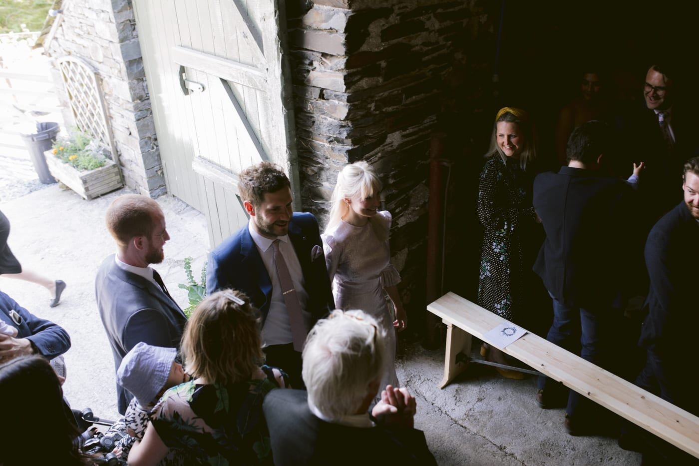 Bride and Groom Walking Amongst Guests at Yew Tree Farm Wedding