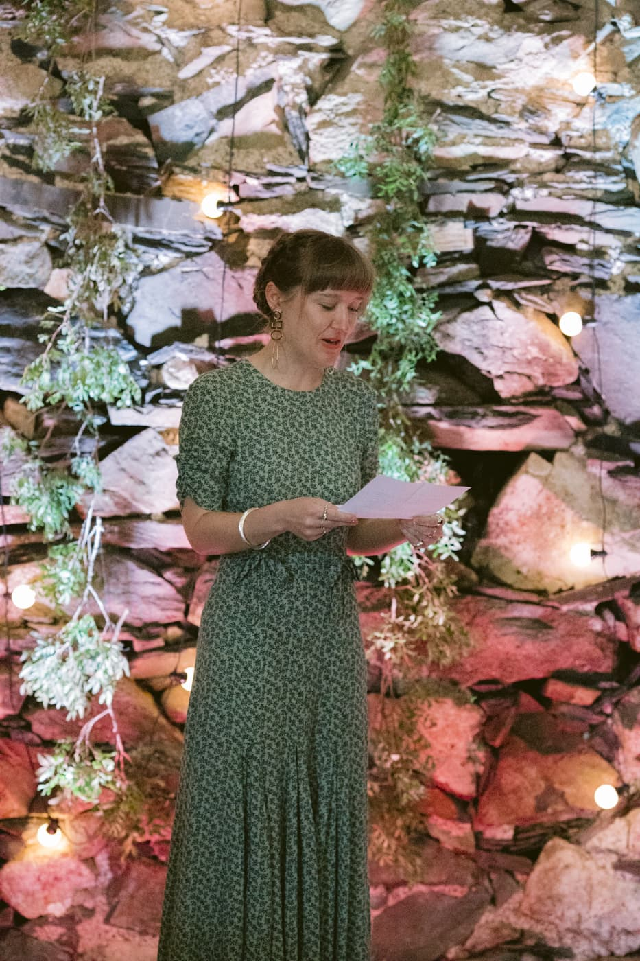 Woman Guests Speech at Yew Tree Farm Wedding