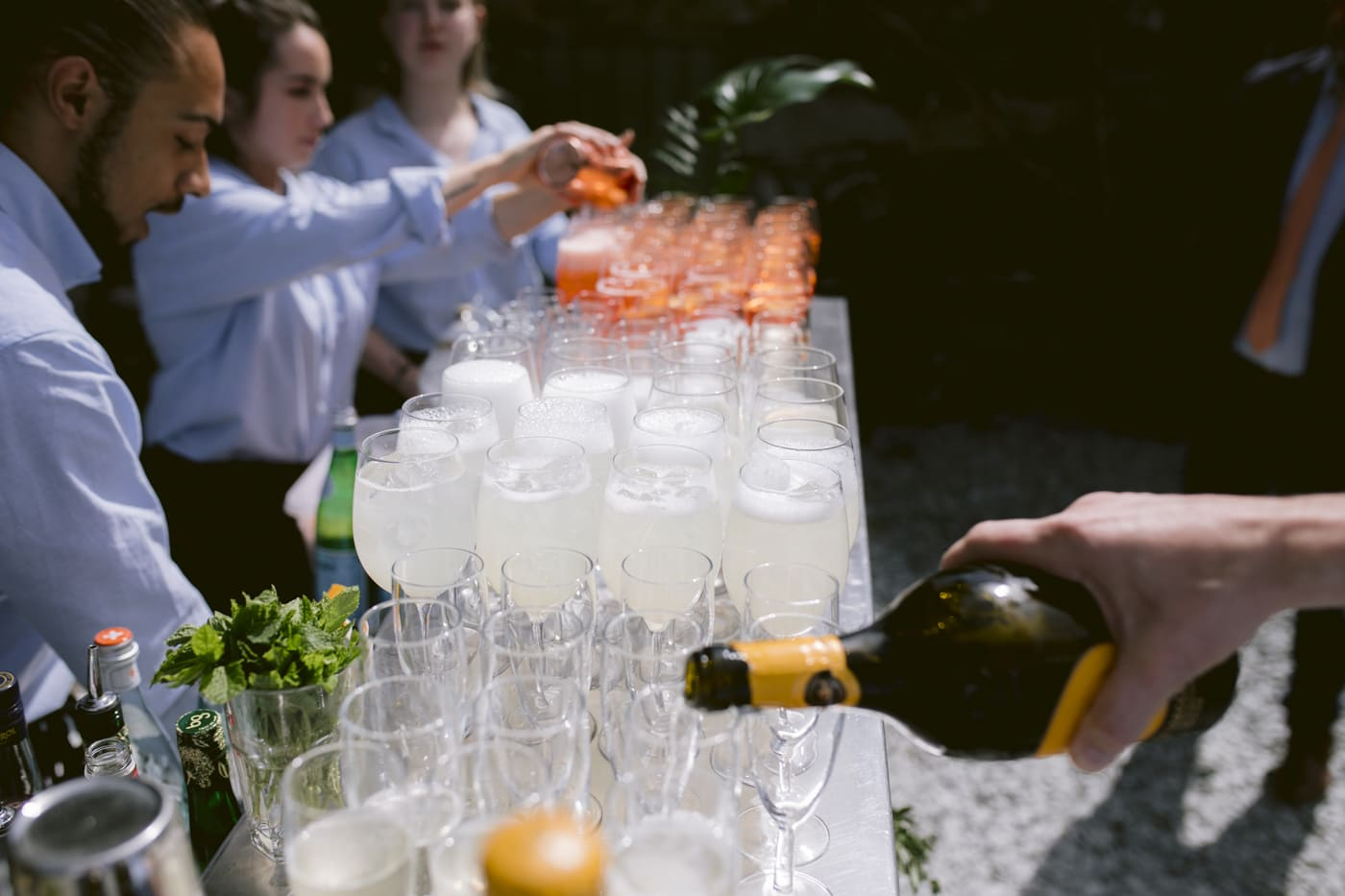 Outside Wine Glasses at Yew Tree Farm Wedding