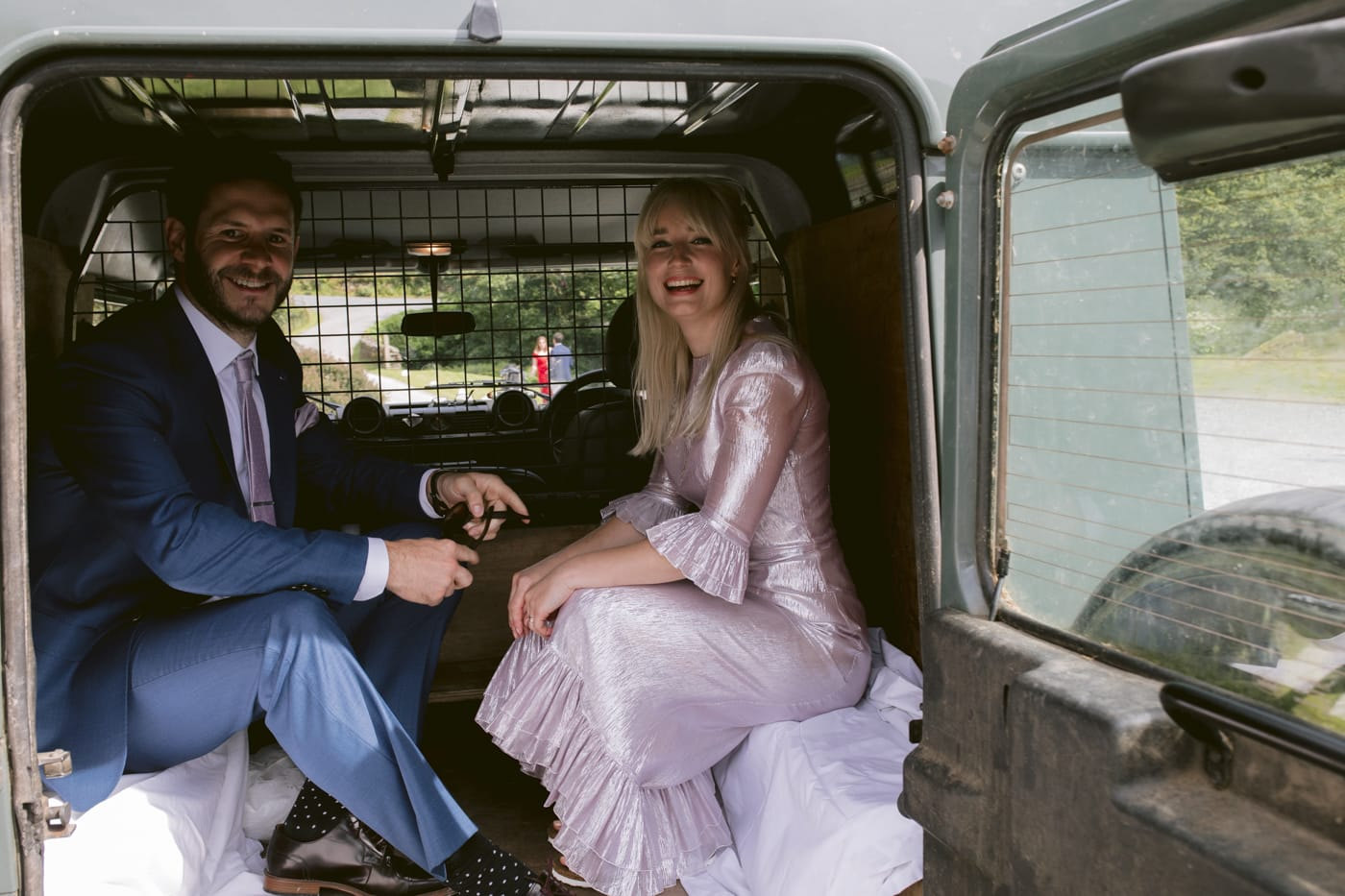 Bride and Groom Wedding Car Portrait Session at Yew Tree Farm Wedding