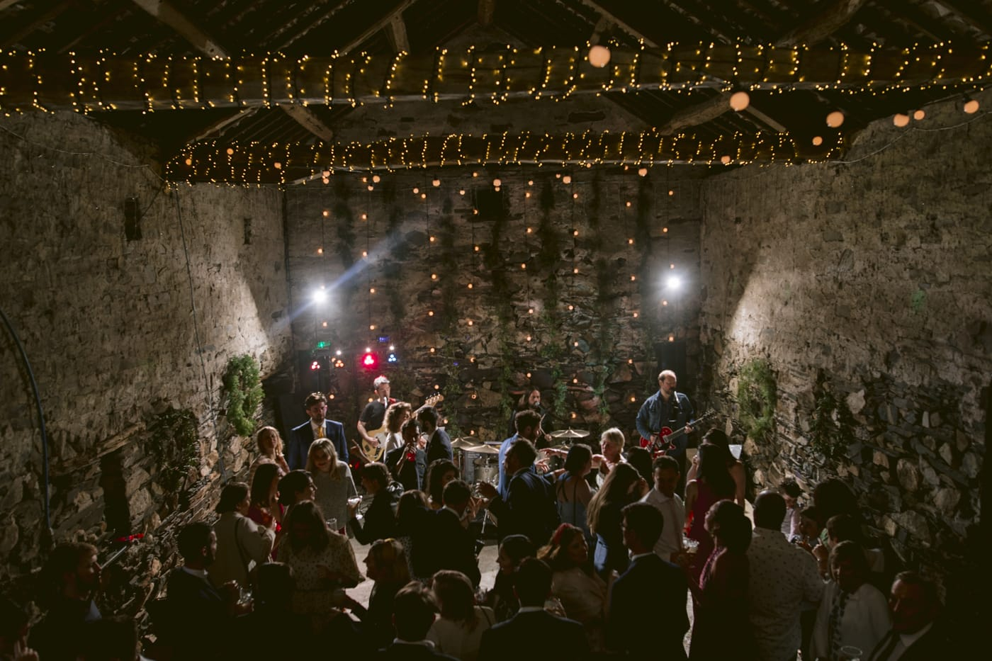 Overhead Portrait Shot of all Guests, Bride and Groom in Main Hall