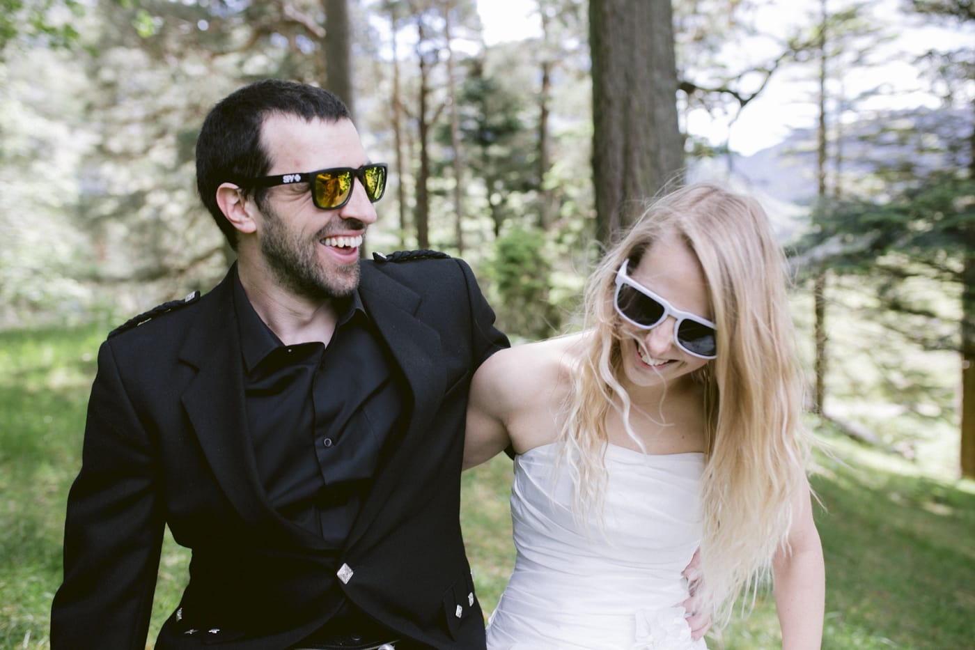 Laughing Together with Glasses in the Forest Portrait Session