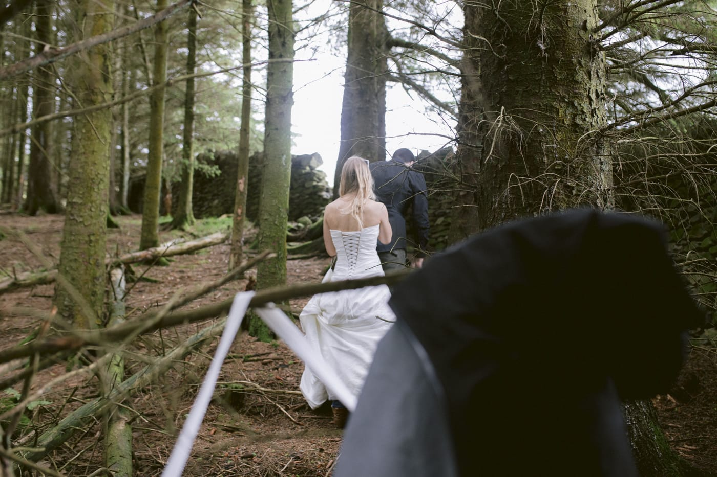 Bride Forest Walking with Groom Photography Portrait Session