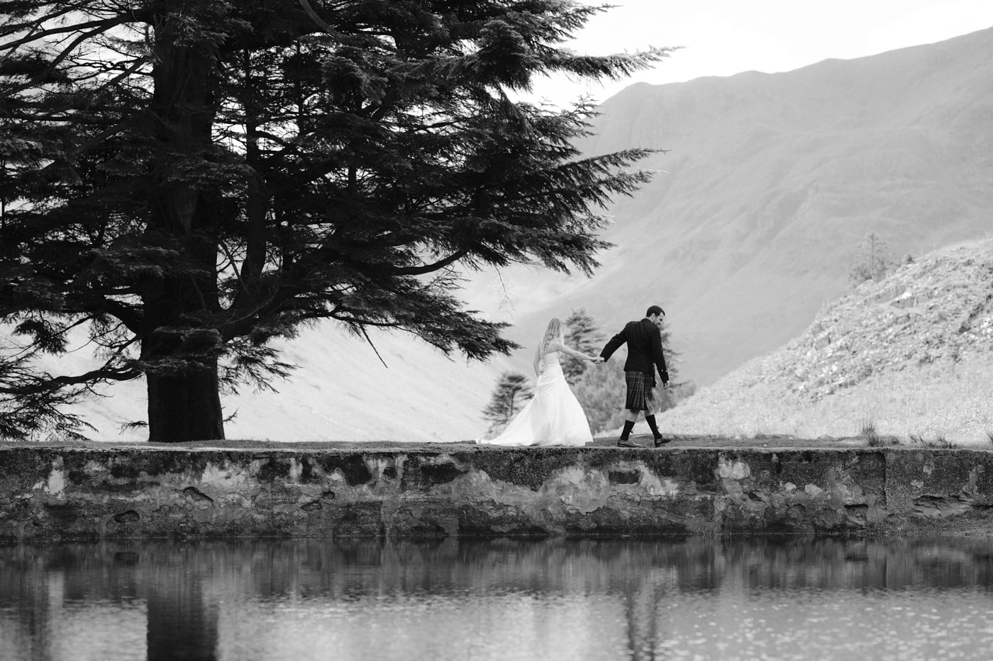 Across the Lake, Bride and Groom Portrait Session