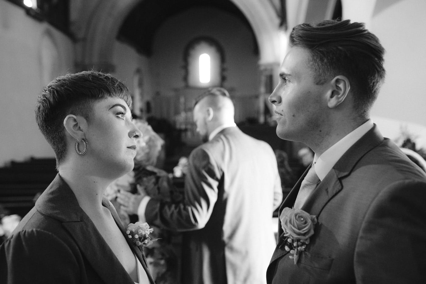 Guests Captured at Main Wedding Church Hall Photography Portrait Session