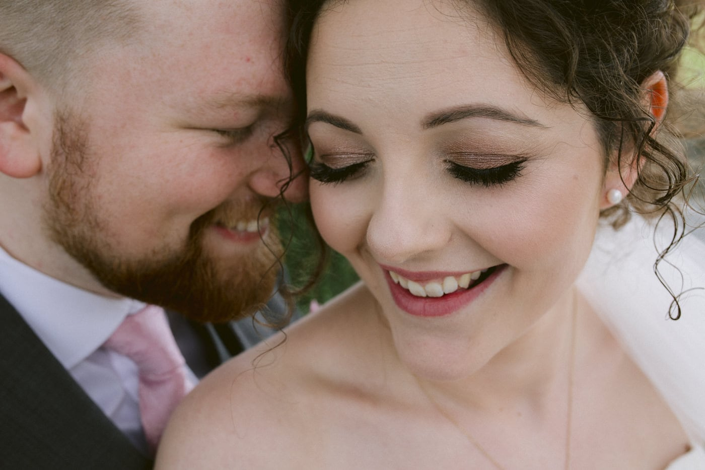 Portrait of Bride and Groom Together, Close Faces, Smiling Portrait