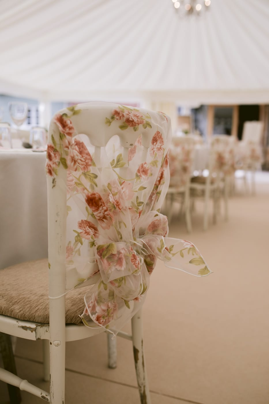 Wedding Reception Chair with Decorative Bows Photography Session