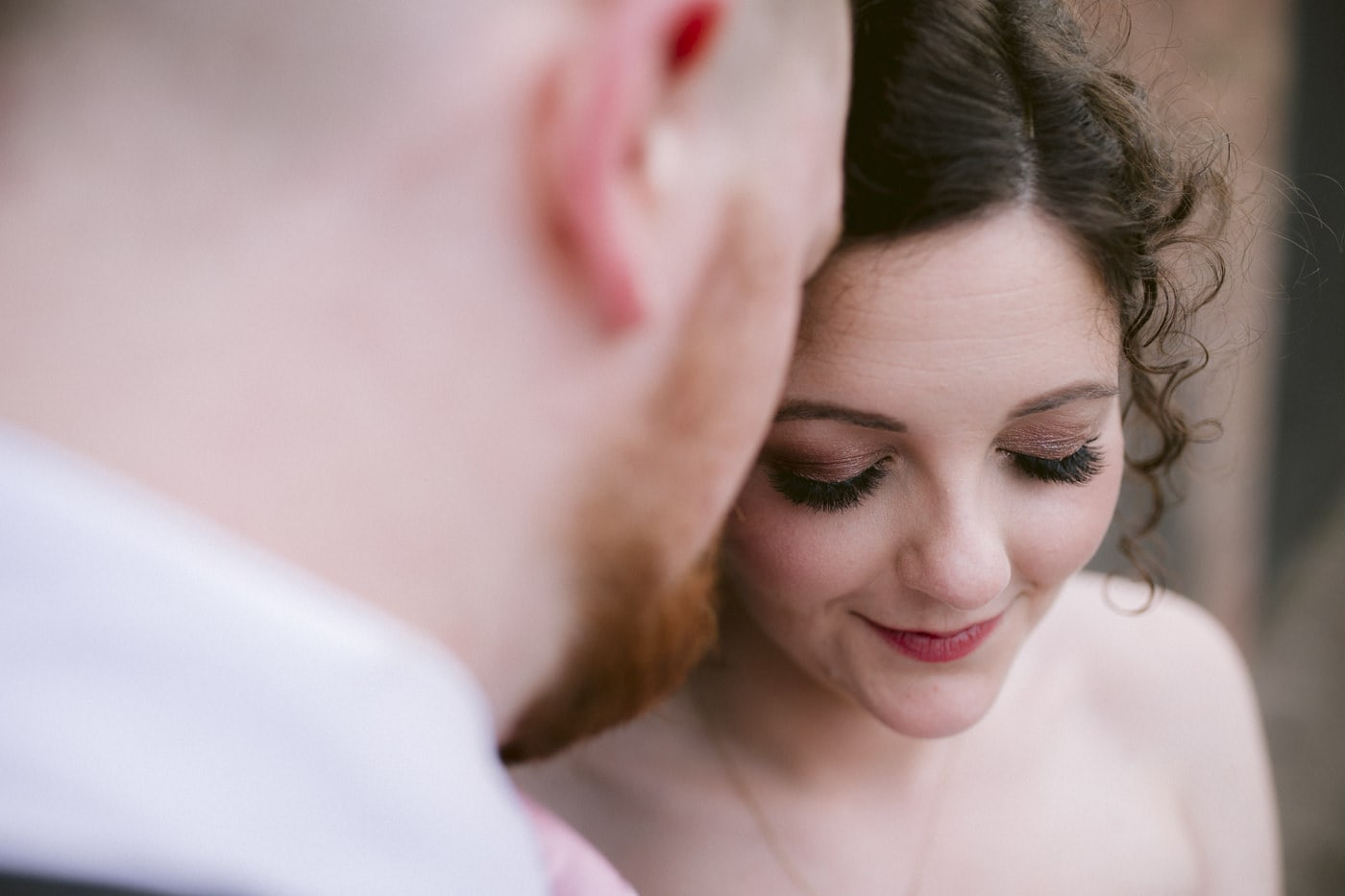 Bride Smiling with Groom Portrait