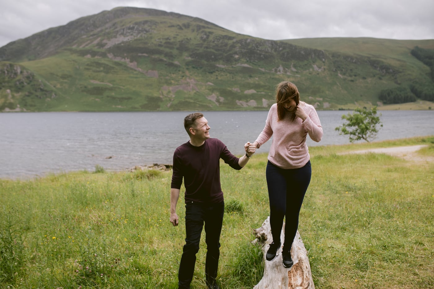 Couple Walk Together at Ennerdale Water