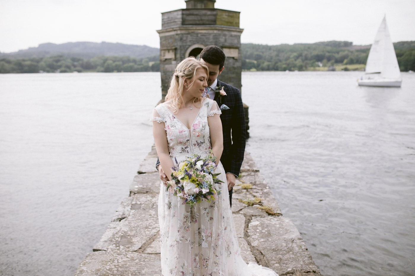 Bride and Groom Lakeside Together Portrait Shoot at Storrs Hall Wedding