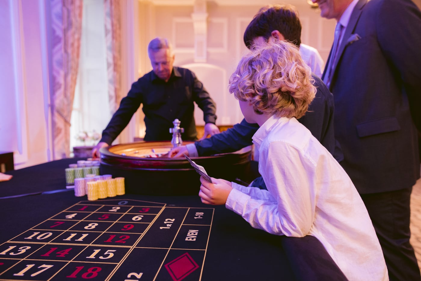 Guests playing the Casino at Storrs Hall Wedding
