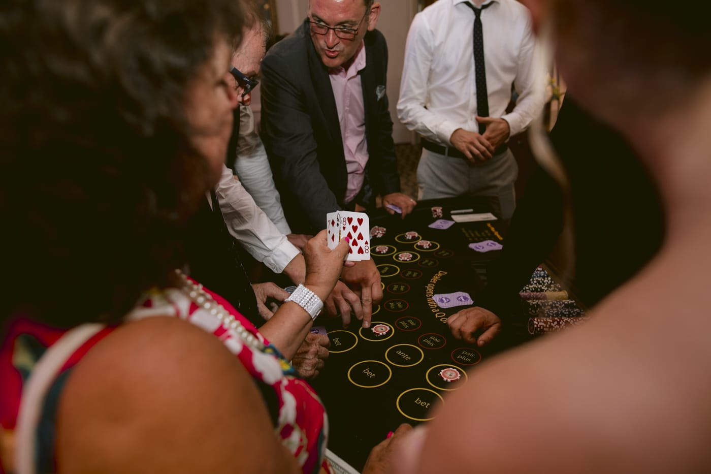 Guests Playing at the Casino at Storrs Hall Wedding