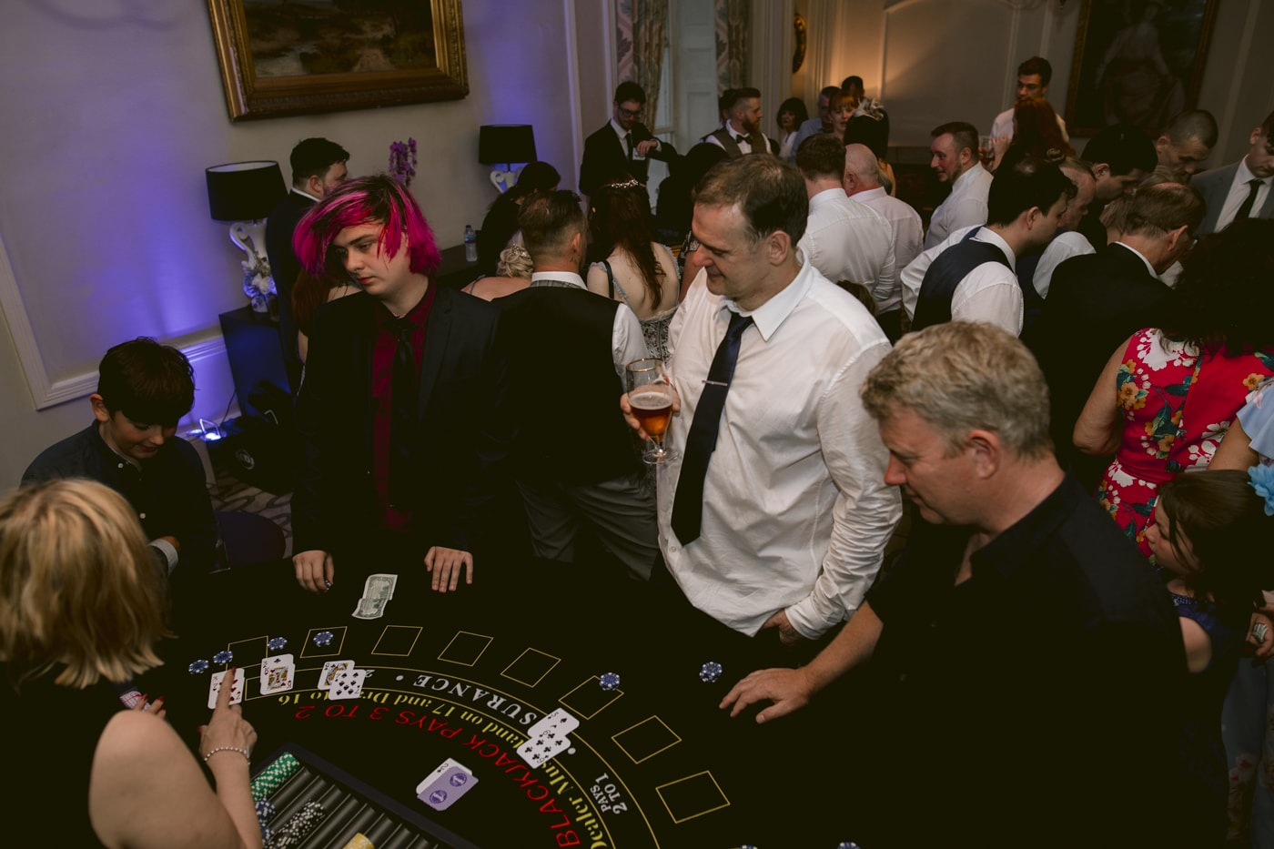 Guests Playing Casino at Storrs Hall Wedding