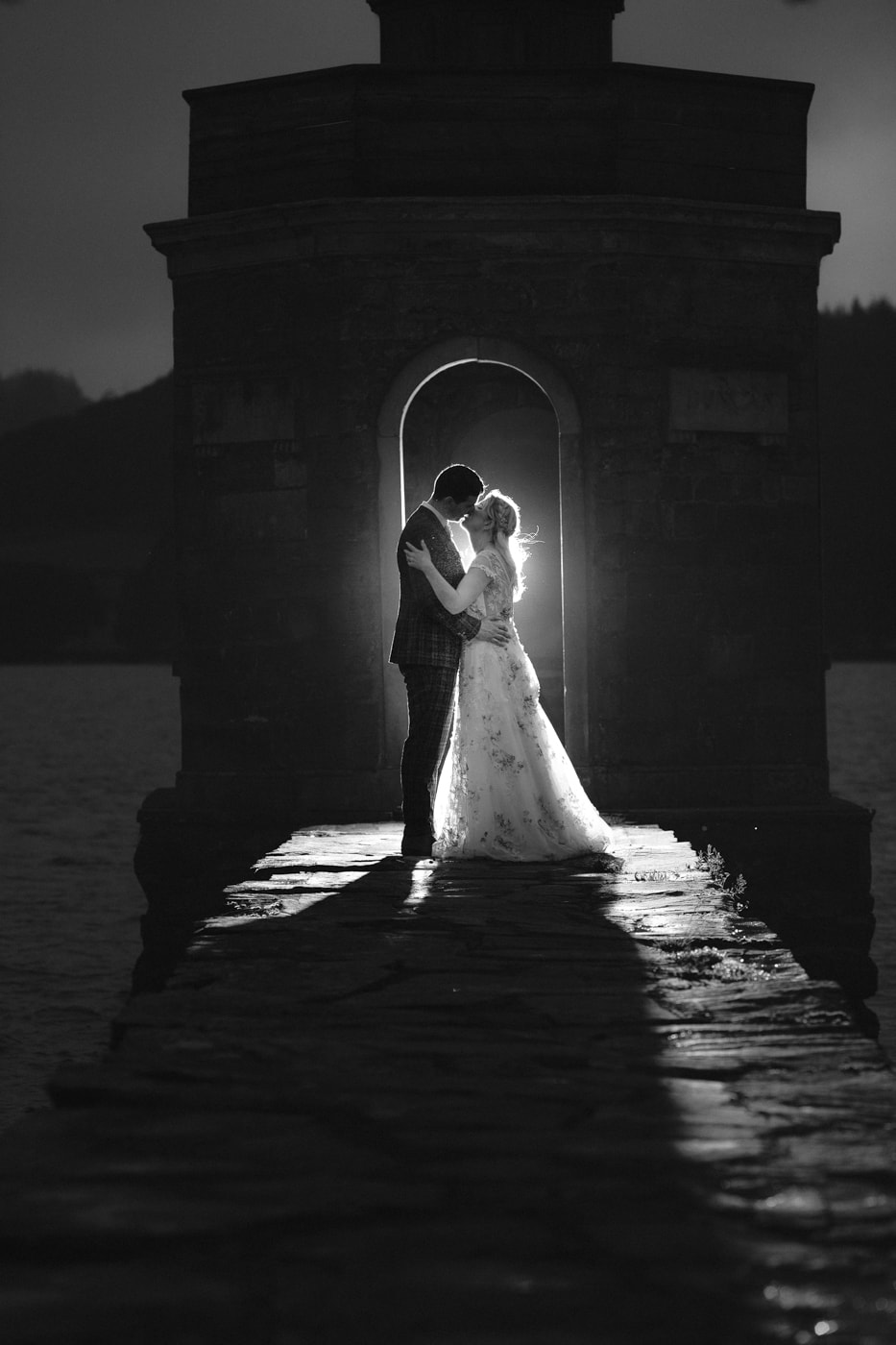 Bride and Groom on Lakeside Bathed in Light Portrait Session Shot at Storrs Hall Wedding