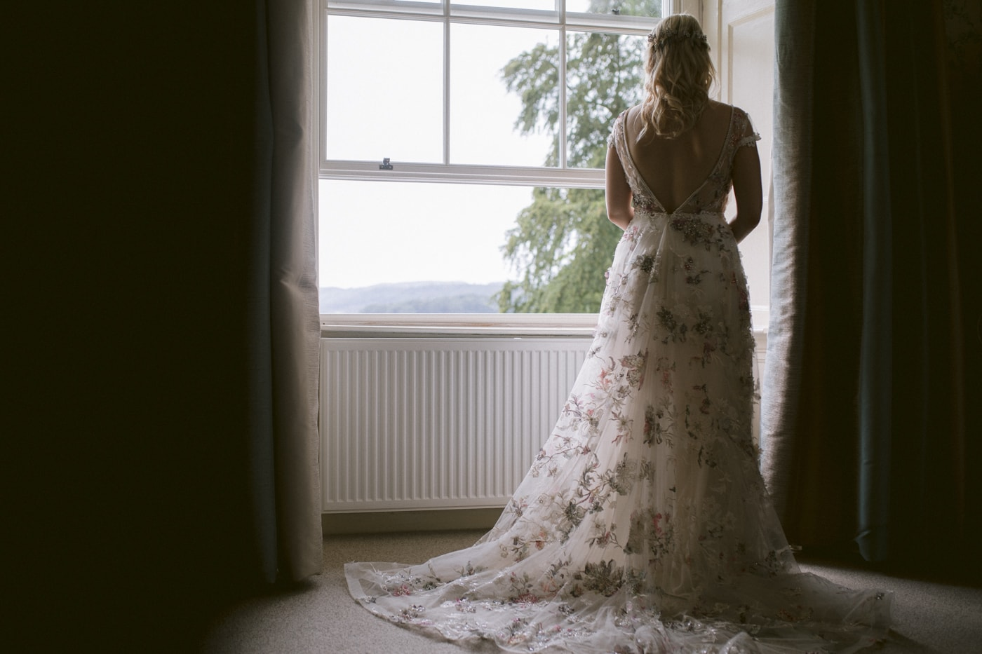 Bride Window Portrait at Storrs Hall Windermere