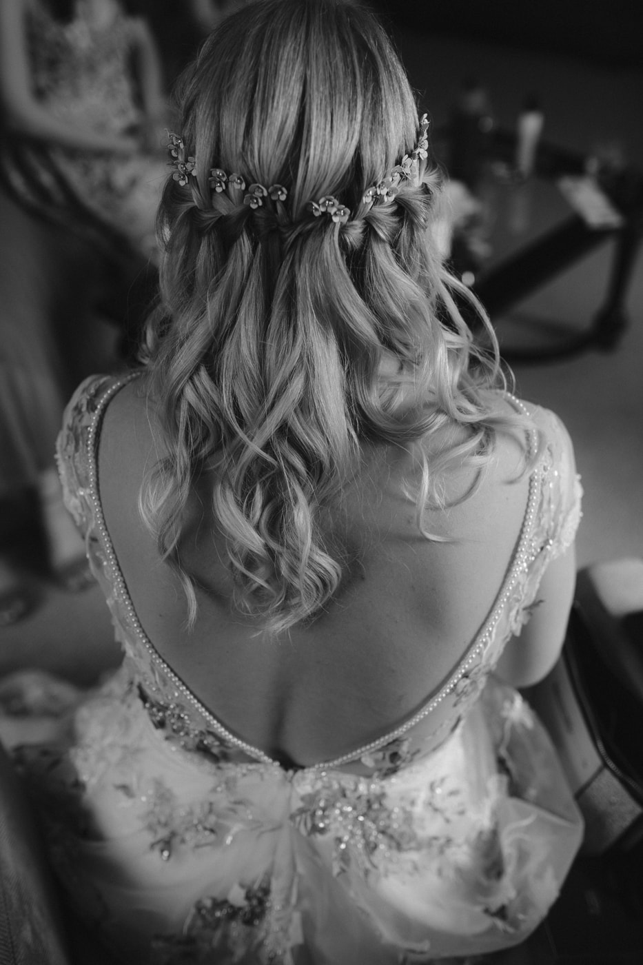 Wedding Dress and Hair Portrait at Storrs Hall Wedding