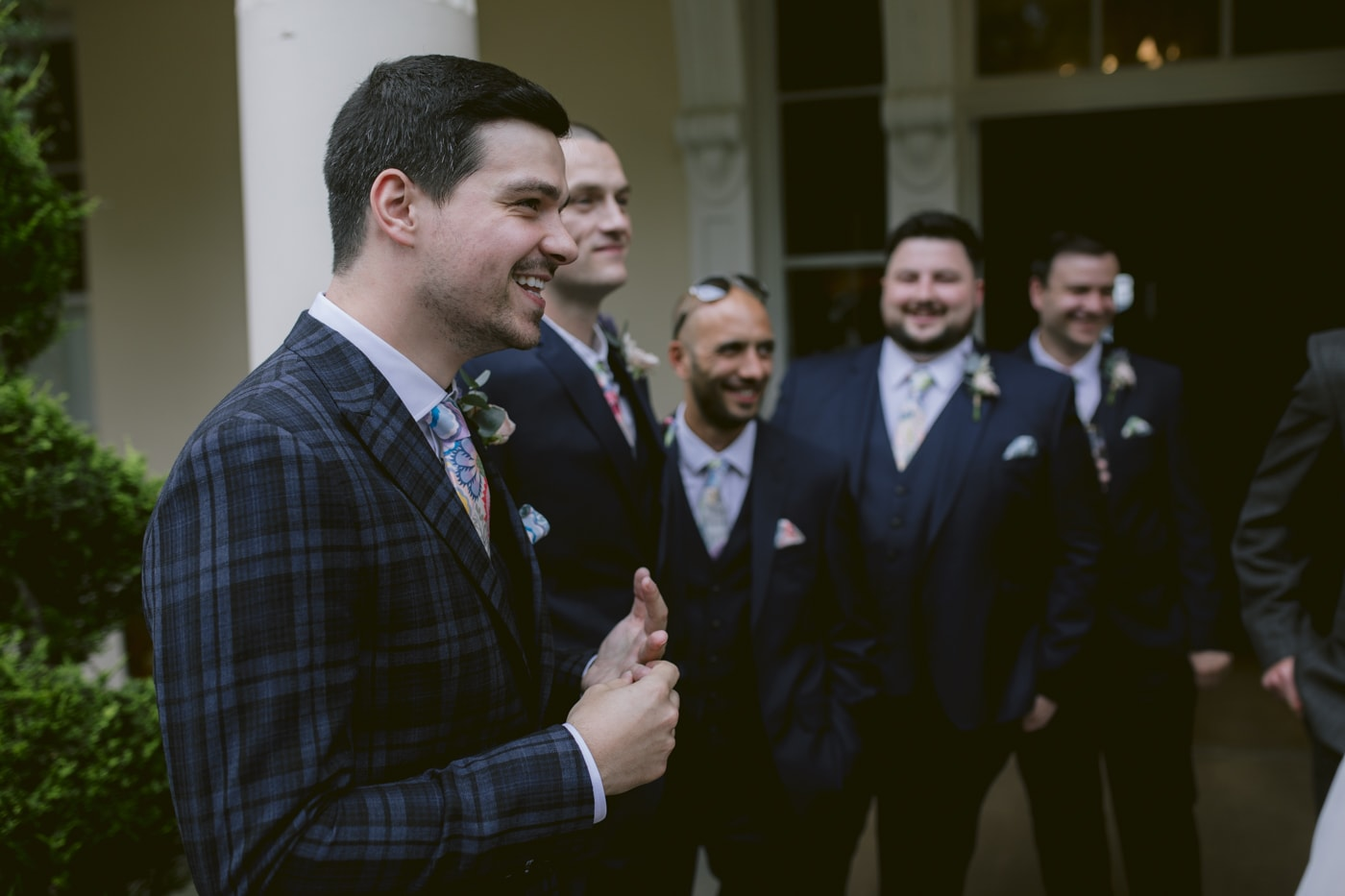 Groom and Group Portrait Shoot Outside at Storrs Hall Wedding