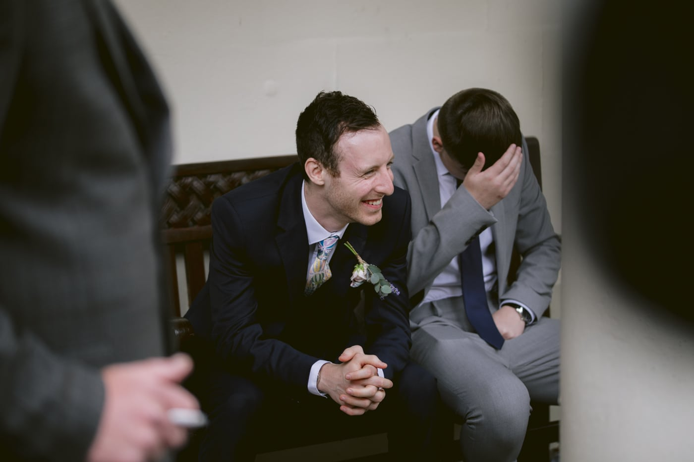 Portrait of Men Laughing at Storrs Hall Wedding