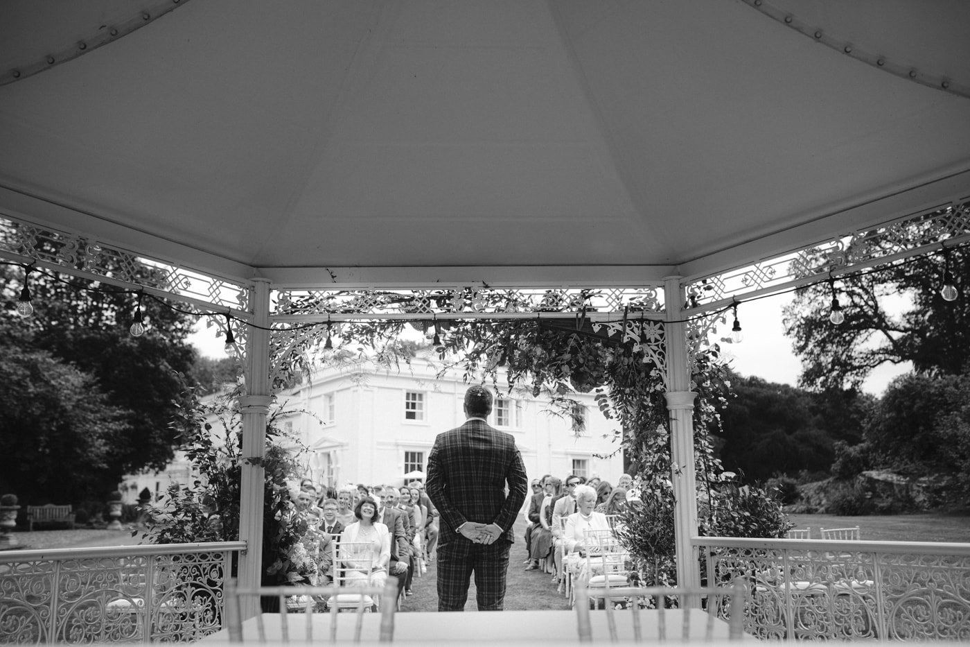 Groom Down the Aisle at Storrs Hall Wedding