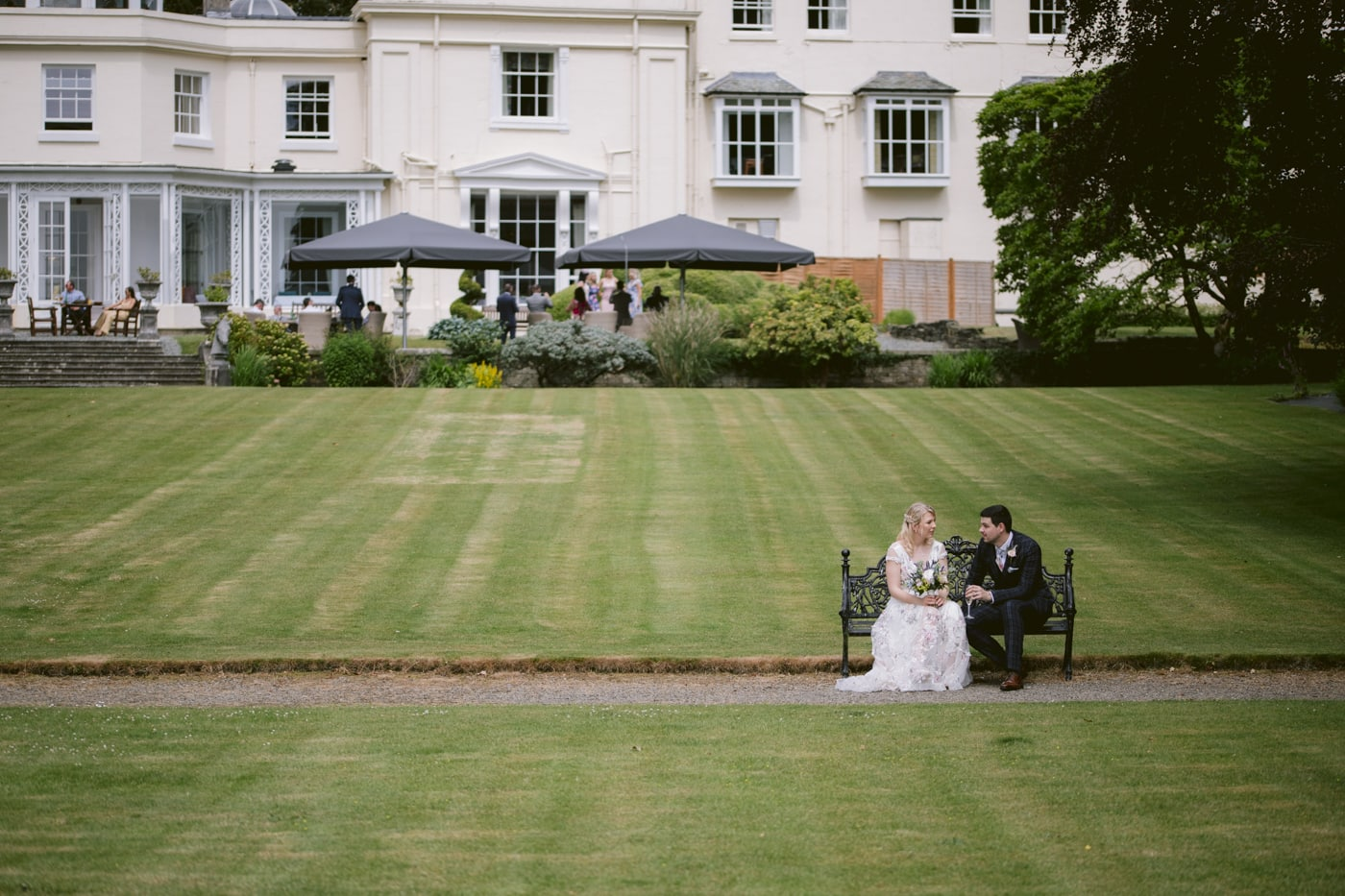 Bride and Groom Front of House Portrait at Storrs Hall Wedding