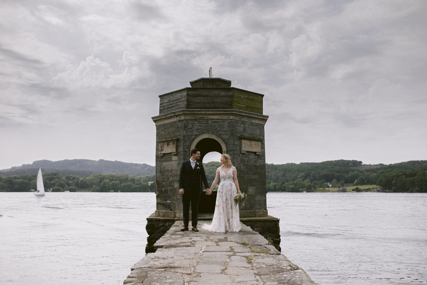 Bride and Groom Together Lakeside at Storrs Hall Wedding