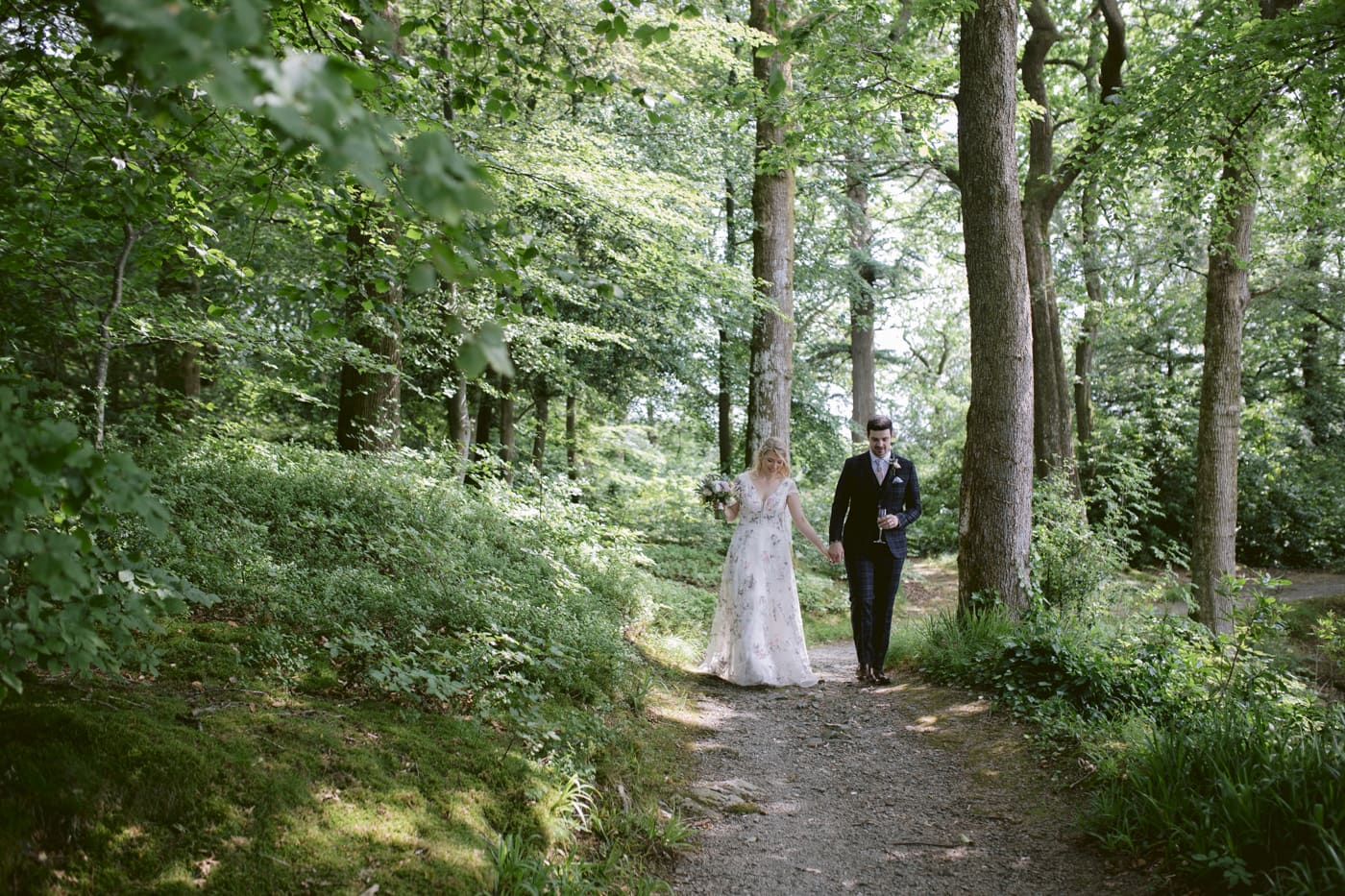 Couple Portrait Shoot in Woodland Path at Storrs Hall Wedding