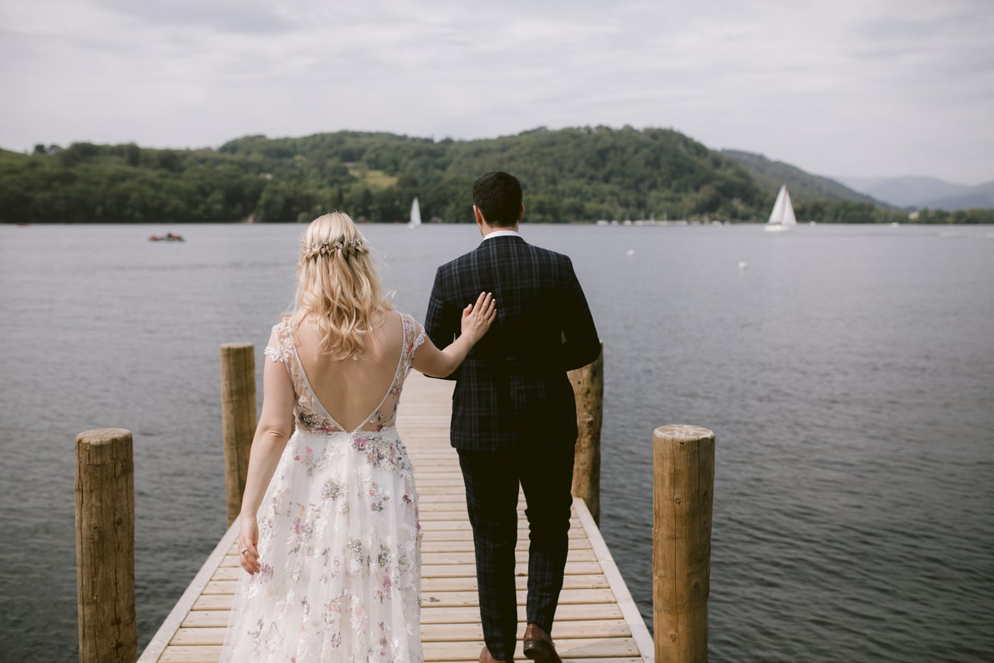 Bride and Groom Lakeside Together at Storrs Hall Wedding