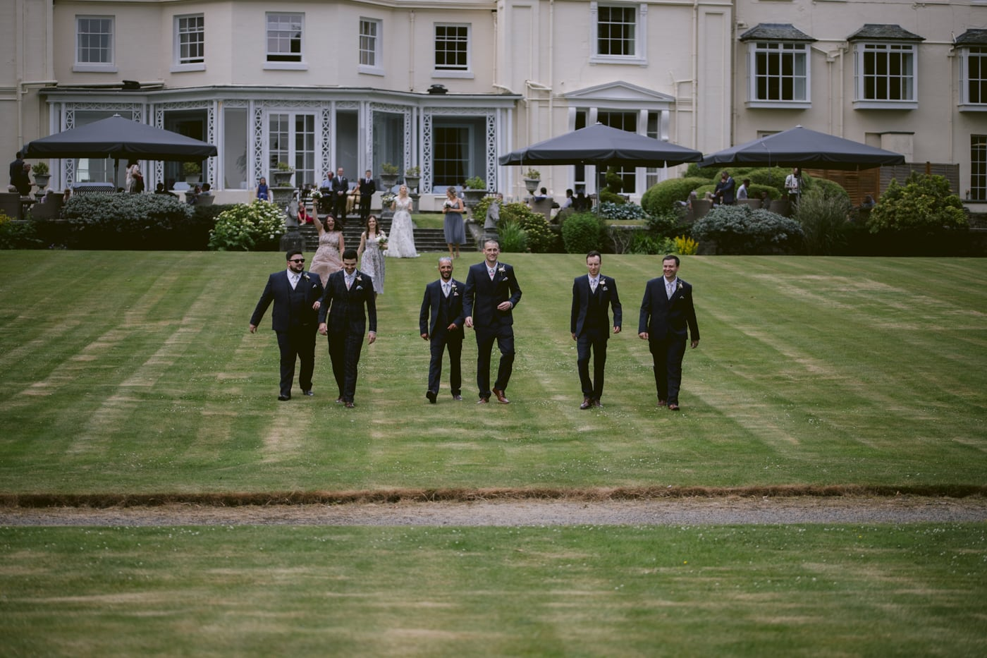 Groom and Best Men on Outside Lawn at Storrs Hall Wedding