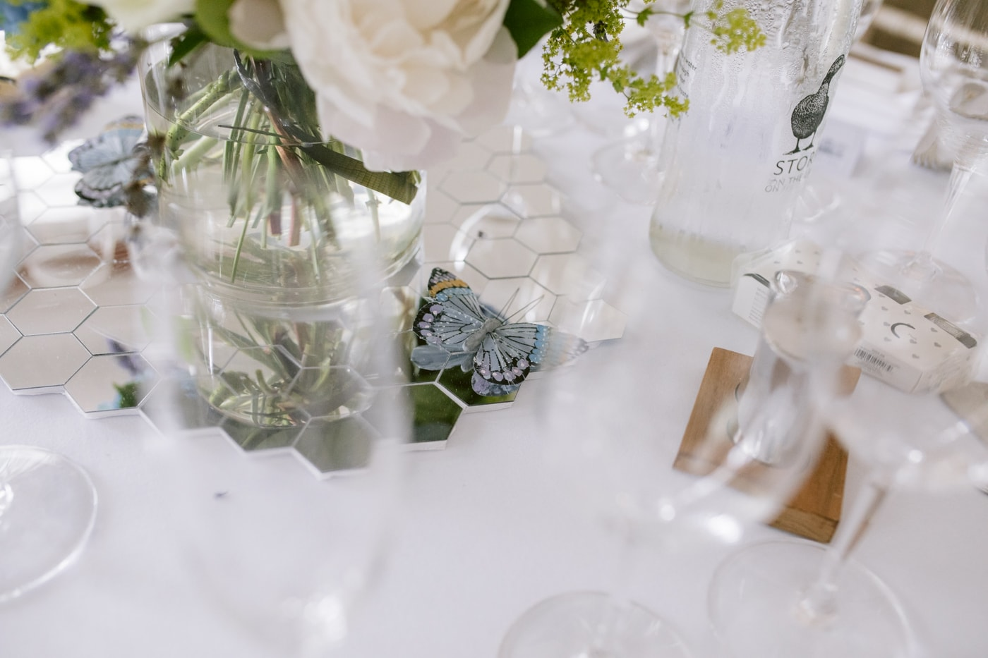 Pretty Glasses on Reception Tables at Storrs Hall Wedding